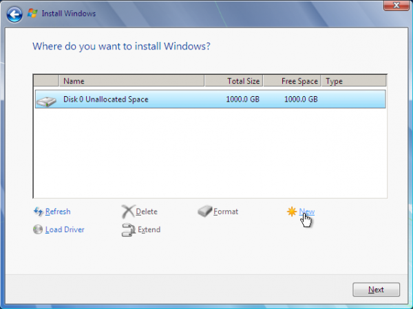 Windows 7 New Partition