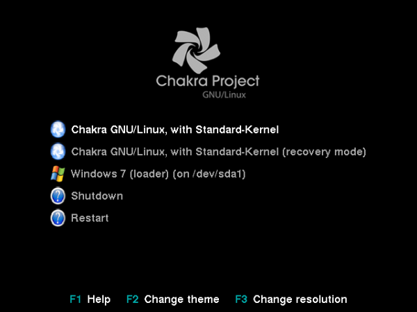 Chakra Edn Windows 7 dual-Boot BURG Menu