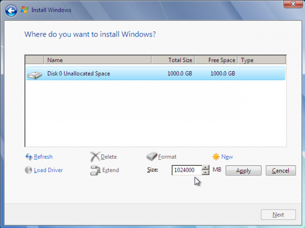 Windows 7 New Partition Size