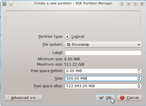 Chakra Linux Create Swap Partition