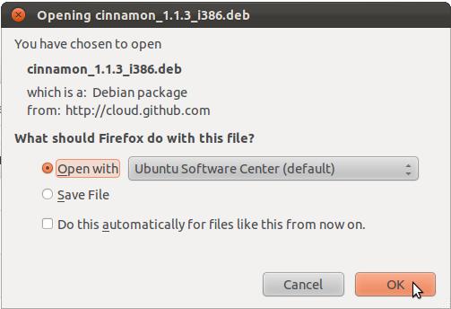 Install Cinnamon Ubuntu Dialog