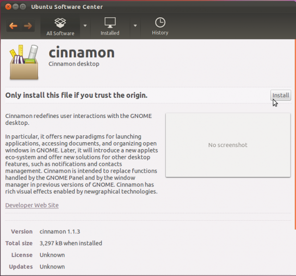 Install Cinnamon Ubuntu Software Center