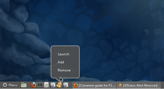 Fedora 16 Cinnamon Panel Menu