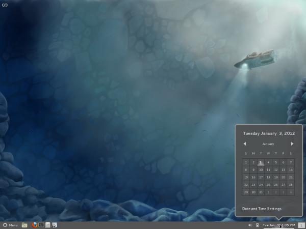 Fedora 16 Cinnamon Calendar applet