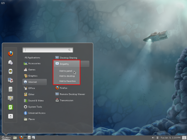 Fedora 16 Cinnamon Context Menu