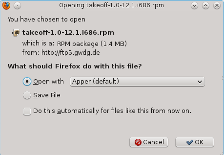 How to install Takeoff Launcher on Fedora 16 KDE