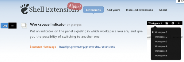 Workspace Indicator GNOME 3 Extension On