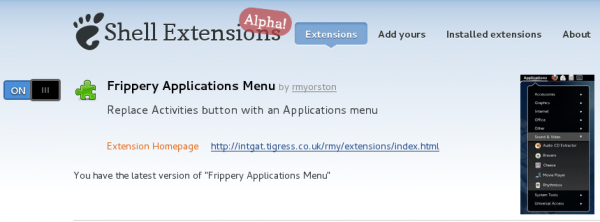 Frippery Application Menu GNOME 3 Extension On