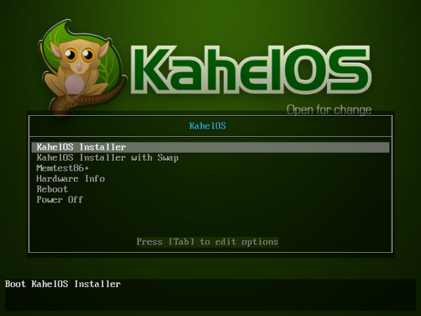 KahelOS Boot Menu