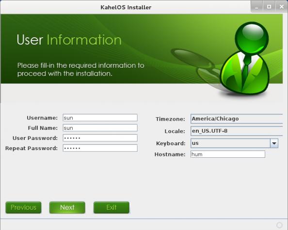 KahelOS Install User Setup