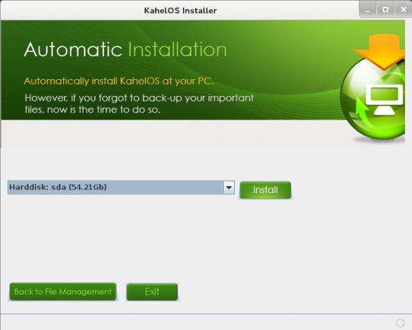 KahelOS Install disk Setup