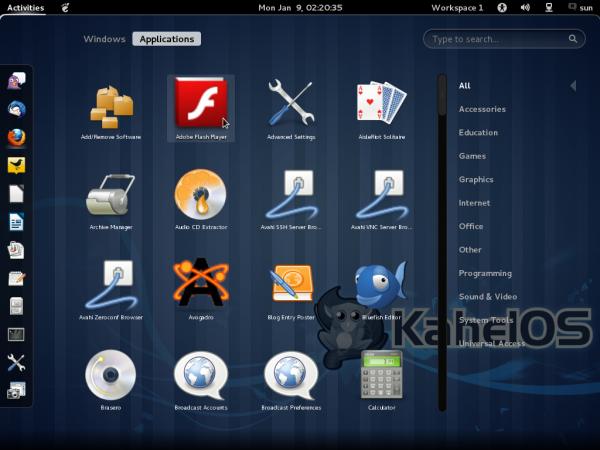 GNOME 3 Dash KahelOS