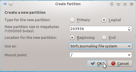 Linux Mint 12 KDE Create Btrfs Partition