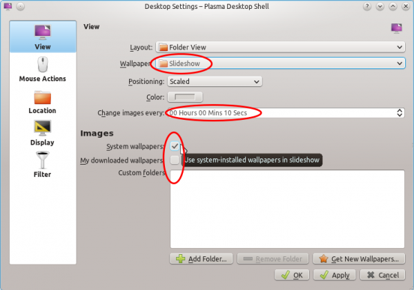 Linux Mint 12 KDE Desktop Slideshow Settings