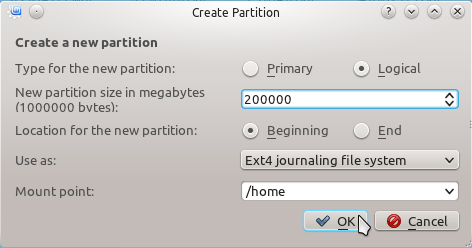 Linux Mint 12 KDE Create Home Partition