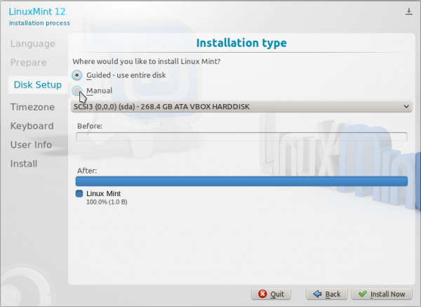 Linux Mint 12 KDE Guided Partition
