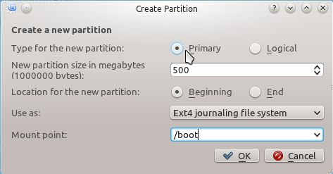 Linux Mint 12 KDE Create Boot Partition