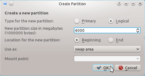Linux Mint 12 KDE Create Swap Partition