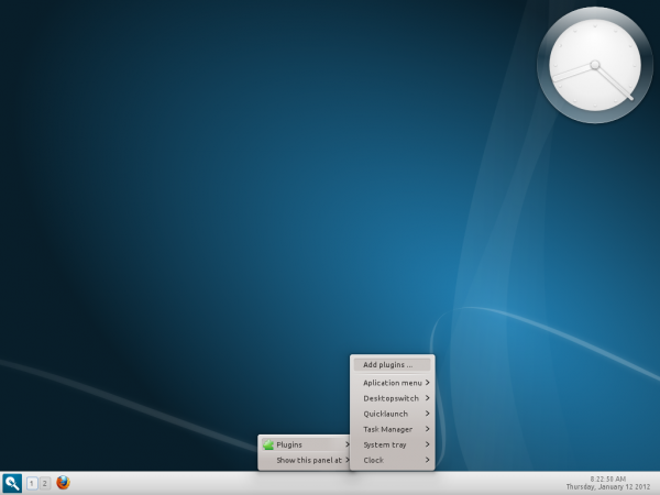 Linux Mint 12 Razor-qt Panel Settings