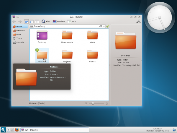 Linux Mint 12 Razor-qt Dolphin File Manager