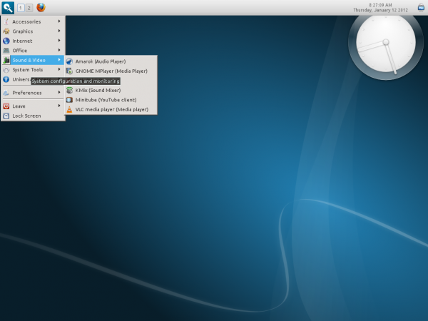Linux Mint 12 Razor-qt Top Panel