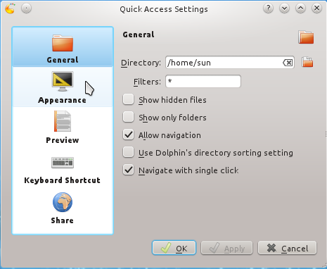 Quick Access Widget General Settings