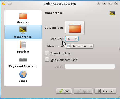 Quick Access Widget Appearance Settings