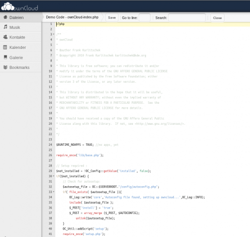 owncloud Code Editor