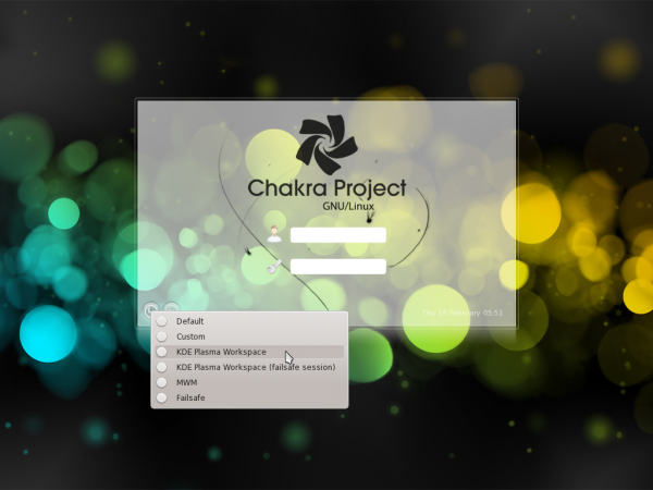 Chakra Linux Archimedes Login Screen
