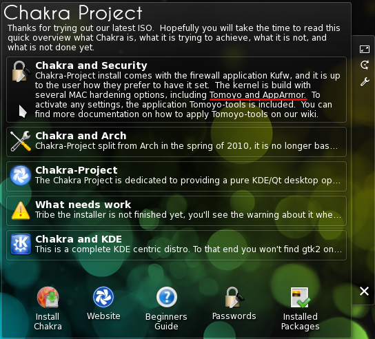 Chakra Linux Live Desktop Security Info