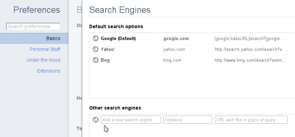 Chromium Default Search Engines