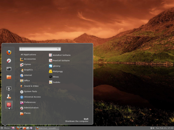 Cinnamon Desktop Menu Ubuntu 11.10