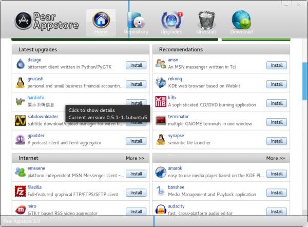 Pear Linux Comice OS 4 Appstore View