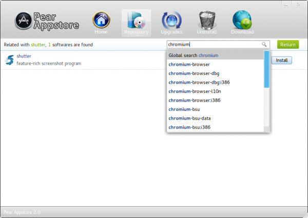 Pear Linux Comice OS 4 Appstore Search