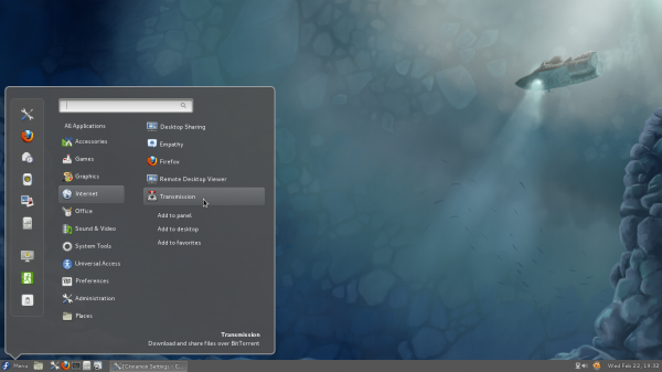 Cinnamon 1.3.1 Fedora 16 Context Menu