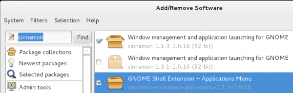 Install Cinnamon 1.3.1 in Fedora 16