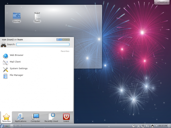 Fedora 17 Desktop Menu