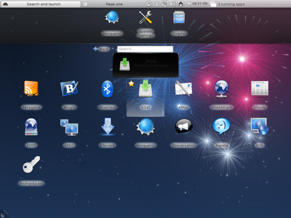 Fedora 17 KDE Netbook Desktop Apps