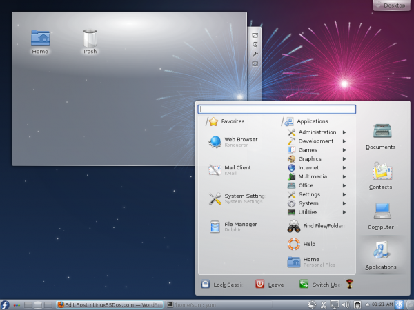 Fedora 12 KDE Lancelot Menu