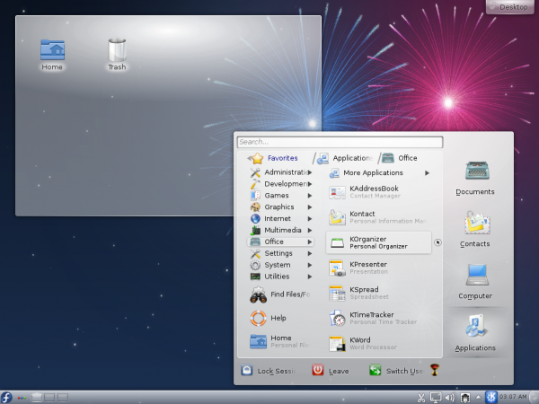 Fedora 17 Lancelot Menu Apps