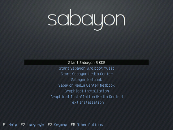 Sabayon 8 Boot Menu