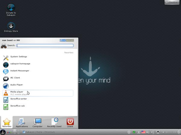 Sabayon 8 KDE Desktop Menu