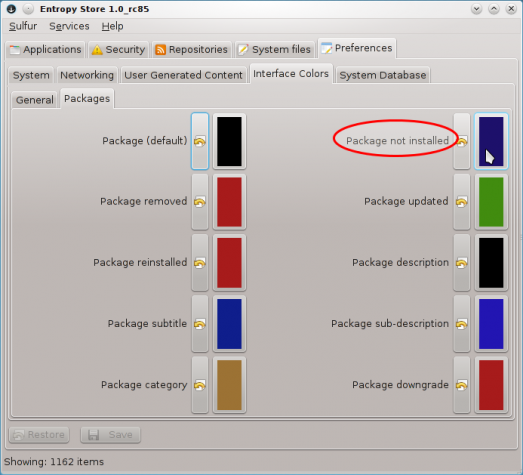 Sabayon 8 KDE Entropy Color Preferences