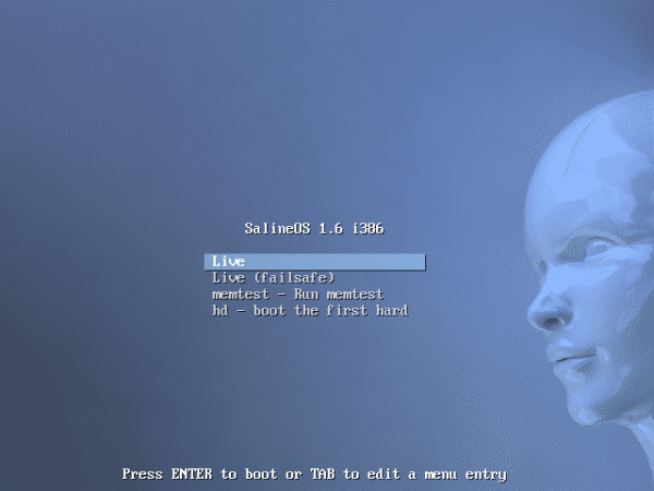 SalineOS 1.6 Boot Menu