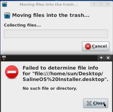 SalineOS 1.6 Remove Installer Icon Error