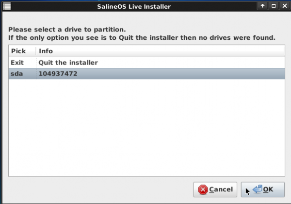 SalineOS 1.6 Install Target Disk