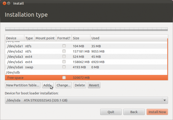 Ubuntu 11.10 Add Partition