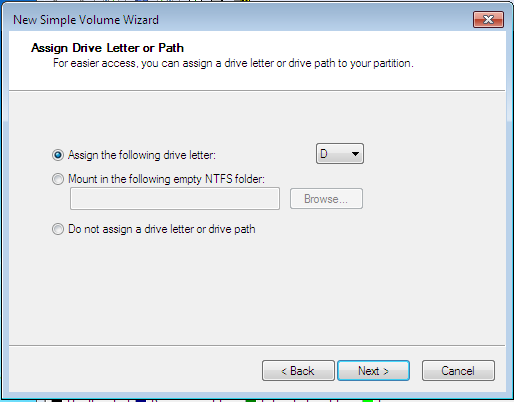 Windows 7 Simple Partition Drive Letter