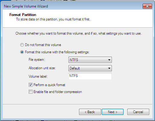 Windows 7 Simple Partition File System