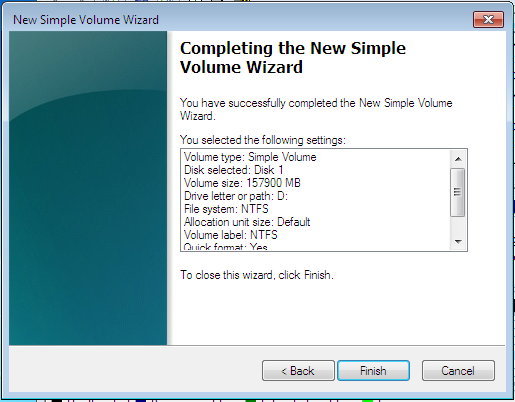 Windows 7 Create Simple Partition Completed